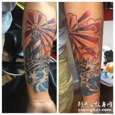 小臂欧美school灯塔海浪彩绘纹身图案
