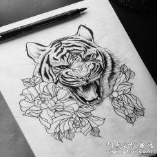 欧美写实老虎花蕊纹身图案手稿