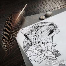 欧美写实豹子花蕊纹身图案手稿
