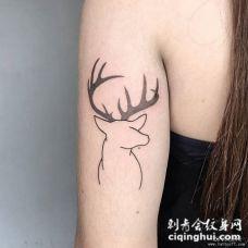 大臂小清新鹿简约线条点刺纹身图案