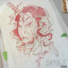 日式传统生首纹身图案手稿