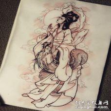 传统侍女乘龙纹身图案手稿