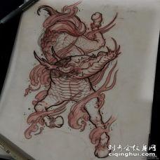 传统的神兽纹身图案手稿