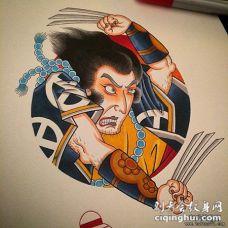 日式传统人物彩色纹身图案手稿