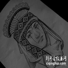 欧美传统人物纹身图案手稿