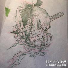 传统的日式生首纹身图案手稿