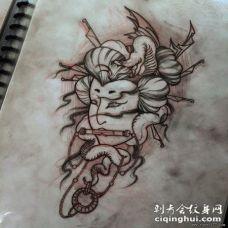 传统日式艺妓蛇纹身图案手稿