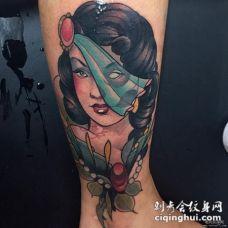 小腿new school传统女郎纹身图案