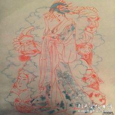 日本传统艺妓人物纹身图案手稿