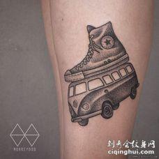 school点刺黑灰汽车帆布鞋纹身图案