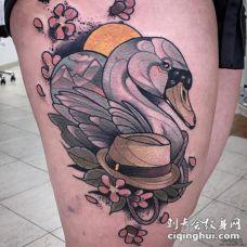 大腿school风格天鹅纹身图案