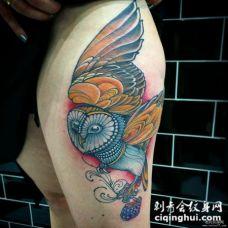 大腿school彩绘猫头鹰纹身图案