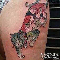 大腿日式花蕊纹身猫纹身图案