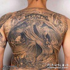 炫酷满背帅气黑天使纹身图案