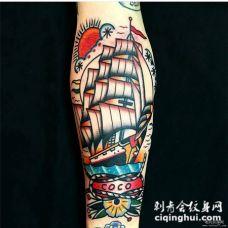 old school凯旋而归的帆船纹身图案