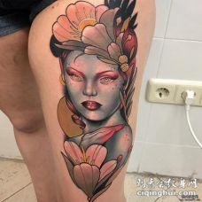 大腿school女郎彩色纹身图案