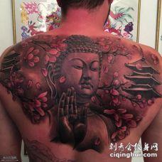 背部寺庙如来佛樱花纹身图案
