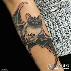 小臂上蝙蝠纹身图案