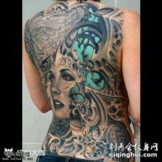 背部科幻机械美女人物纹身图案