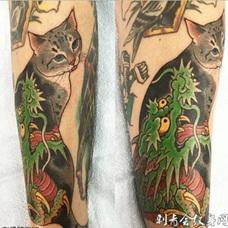 日式传统纹身猫和青龙彩绘纹身图案