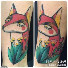 小腿欧美卡通风格狐狸花蕊纹身图案