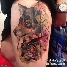 欧美几何猫头鹰狗彩绘纹身图案