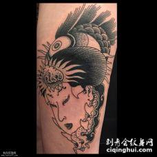 小腿上的艺妓头部纹身图案