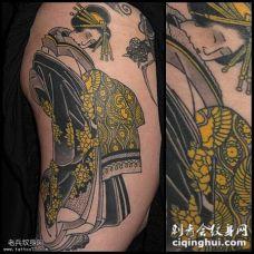 大腿日本艺妓人像纹身图案