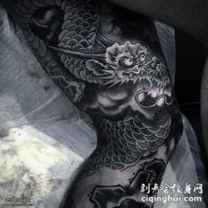 大腿霸气的龙纹身图案
