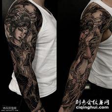 男士花臂艺妓龙纹身图案