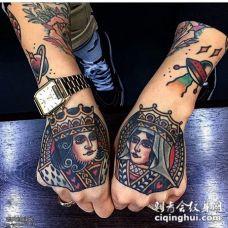 手背扑克牌人物王纹身图案