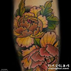 大臂彩色的菊花纹身图案