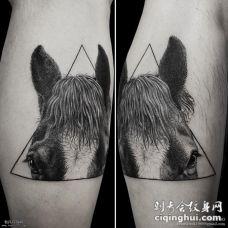 几何马局部写实纹身图案