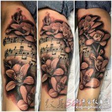 关于音符的黑色素描点刺技巧创意个性纹身图案