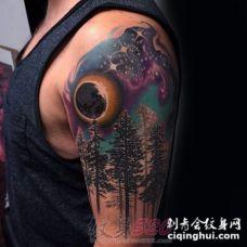 绚丽多彩的彩绘技巧创意星空纹身图案