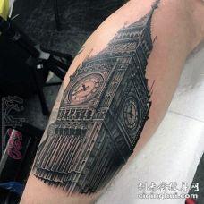 黑色素描点刺技巧经典建筑大本钟创意纹身图案