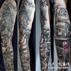 男生手臂上黑色素描点刺技巧经典建筑大本钟花臂纹身图片