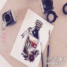 彩绘水彩创意瓶子画中画海边夜景纹身手稿