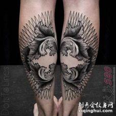 黑色线条素描几何元素梵花花纹对称拼接纹身图案