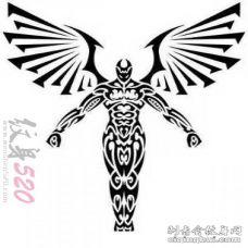 霸气的黑色翅膀男性身体几何纹身图腾纹身手稿图手稿素材