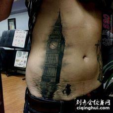 关于建筑的黑色线条素描经典纹身图案
