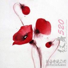 彩绘水彩红色水墨文艺小清新唯美花朵纹身手稿