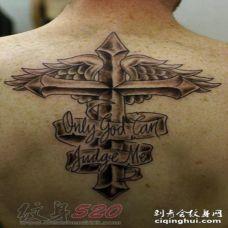 1关于十字架的黑色线条素描创意纹身图案