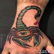 男生手背上彩绘蝎子纹身图片