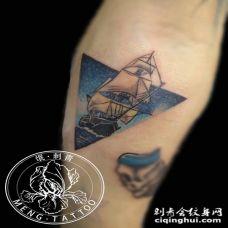 纹身-小臂欧美帆船