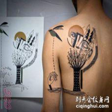 另类的彩绘技巧几何元素抽象线条人物肖像纹身图案