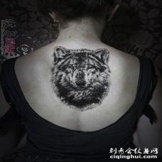 关于狼的黑色素描超写实霸气狼头纹身图案