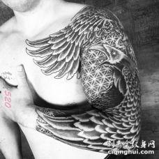 黑白线条几何元素图腾花臂纹身图案
