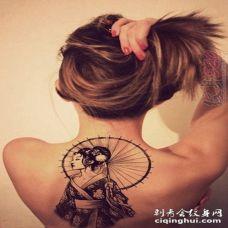 1漂亮的抽象线条人物肖像日本艺伎纹身图案