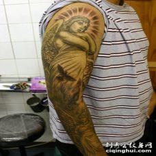 天使花臂纹身图案 花臂黑白天使纹身刺青个性独特